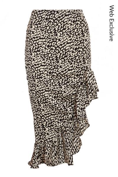 Black Satin Leopard Print Midi Skirt